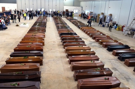 coffins piling up